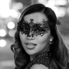 Michelle Phan Noir Masquerade Black Metal Filigree Mask, New Masquerade Mask, Laser Cut Masquerade Ball Mask, Detailed with Clear Swarovski