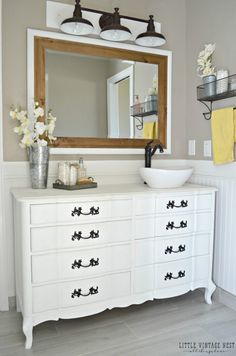 How To Turn A Dresser Into A Double Vanity DIY Your Home - Dresser turned bathroom vanity for bathroom decor ideas