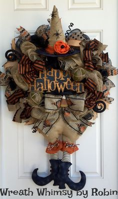 Halloween Burlap & Mesh Rustic Witch Wreath, Primitive Halloween Witch, Fall Wreath, Front Door Wreath, XL Halloween Wreath by WreathWhimsybyRobin on Etsy