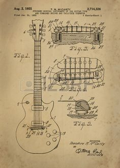 Les Paul Guitar patent from 1955 inventor T. M. McCarty Vintage..