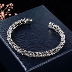 Sterling Silver Braided Rope Cuff Bracelet - Jewelry1000.com