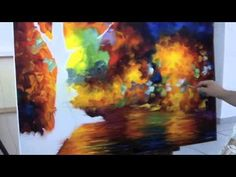 ▶ A sped up video of Leonid Afremov making a recreation of Colorful Night - YouTube