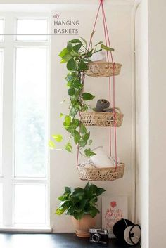 Vertical hanging baskets gets your crap off the floor without taking up any valuable shelf or wall space.