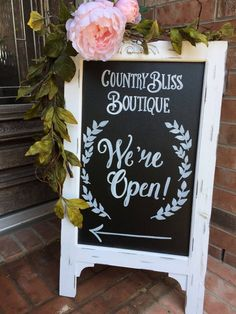 Business chalkboard easel * boutique welcome chalkboard sign * we' Welcome Chalkboard, Chalkboard Easel, Chalkboard Signs, Chalkboards, Kitchen Chalkboard, Chalkboard Ideas, Sandwich Board Signs, Marker, Retail Signs