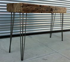 Hairpin steel table legs inspiring my latest table project Wood, Industrial Furniture, Nyc Furniture, Recycled Wood Furniture, Table Legs, Metal Table Legs, Wood Table Legs, Reclaimed Wood Table, Furniture Legs