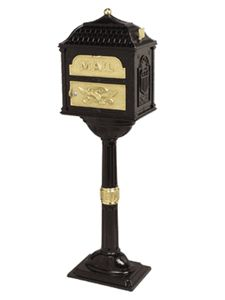 Classic Pedestal Mailbox Package Black with Polished Brass
