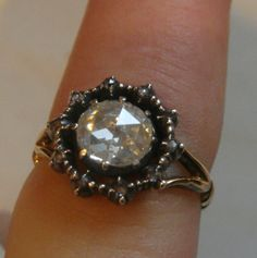 ANTIQUE GEORGIAN 1.30CT NATURAL ROSE CUT DIAMOND SOLITAIRE  GOLD RING SIZE R 1/2