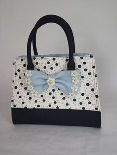 Betsey Johnson FLIRTY FLORAL SATCHEL BM19560 BLK/GRY POLKA DOTS, Powder BLUE BOW #BetseyJohnson #Satchel
