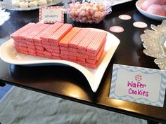Pink wafer crackers, pink iced animal crackers, pink punch, pink lemonade instead of koolaid. I want a super-feminine bridal shower. Hello Kitty Birthday, Little Girl Birthday, Baby Birthday, Christmas Birthday, Birthday Ideas, Pink Party Foods, Pink Foods, 70s Party, Party Time