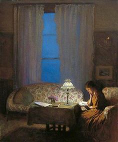 George Clausen 1909 Reading by lamplight