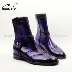 cie Round Toe W-tips Zip Handmade Hand-painted Purple Calf Leather Men's Boot Breathable Bottom Outsole Ankle Shoes, Suede Shoes, Cow Leather, Leather Heels, Buy Shoes, Men's Shoes, Purple Shoes, Violet, Riding Boots