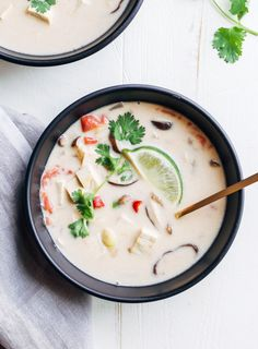 Vegan Tom Kaa Gai- a delicious Thai coconut milk soup that only takes 30…