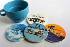 Airplane Coasters-Vietnam War Planes-Set of 4 Ceramic Coasters-Father's Day  Gift