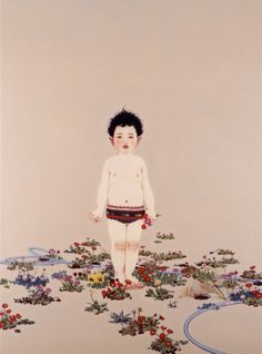 Masako Ando 「おへその森」 / real paintings are much more beautiful than photos in PC monitor