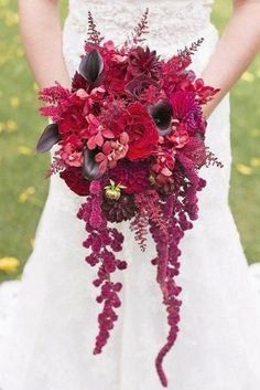 40 Burgundy Wedding Bouquets for Fall / Winter Wedding 40 Burgundy Wedding Bouquets for Fall / Winter WeddingYup, you're right, burgundy is everywhere. If you are looking flower ideas for your Au Cascading Wedding Bouquets, Summer Wedding Bouquets, Fall Wedding Bouquets, Bridal Flowers, Flower Bouquets, Bridal Bouquets, Wedding Centerpieces, Wedding Dresses, Burgundy Wedding
