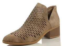 City Classified Women's Tiny Dash Perforations Western V Cutout Side Low Stacked Heel Ankle Bootie , Taupe, 11 M US