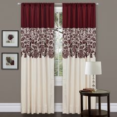Shop for Lush Decor Red Faux Silk Estate Garden Curtain Panel - x Get free delivery On EVERYTHING* Overstock - Your Online Home Decor Outlet Store! Get in rewards with Club O! Curtain Styles, Curtain Designs, Curtains Living, Drapes Curtains, Maroon Curtains, Valances, Ideas For Curtains, Patterned Curtains, Modern Curtains