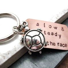 Slow And Steady Wins the Race Keychain with turtle charm, Hand Stamped, Silver Lobster Clasp Available