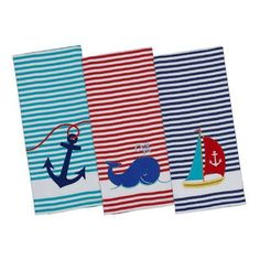 Design Imports Anchor Away Embellished 3 piece Dishtowel Set