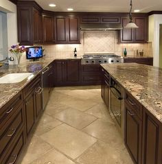 Kitchen Floor Tile Dark Cabinets | Dark Cabinets With Tile Floor Design Ideas, Pictures, Remodel, and ...
