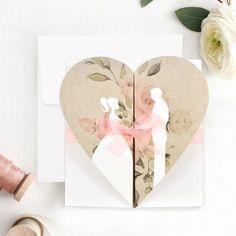 Invitatiile sunt realizate dintr-un cartonas alb si maro, cu inimioara si miri. Acesta se pliaza in trei, iar inauntru se scrie textul. Invitatia este legata cu o panglica roz. Invitatia are plic alb, iar dimensiunile sunt de 14,9 x 16 cm. Place Cards, Place Card Holders, Wedding Centerpieces, Wedding Favors, Wedding Invitations, The Originals