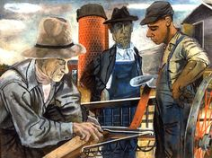 """Farmers,"" Ben Shahn, gouache on composition board, 31 x Art Museum at the University of Kentucky. Government, commissioned through the New Deal art projects. Industrial Wall Art, Ben Shahn, Social Realism, Art Criticism, Textile Fiber Art, Jewish Art, Renoir, Wall Art Designs, American Artists"