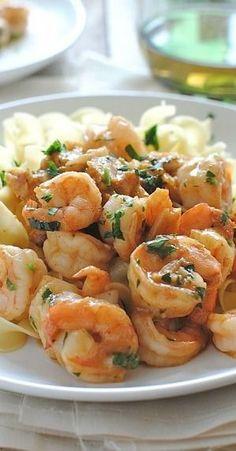 Shrimp Simmered In Garlicky Beer Sauce