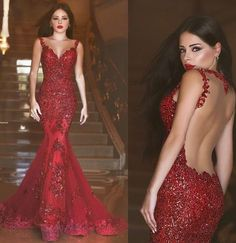 Elegant Mermaid Crytal Prom Dresses Sheer Illusion Back Court Train Evening Gowns on Luulla
