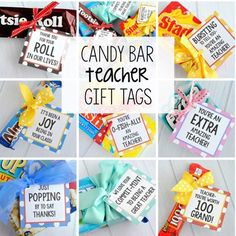 Teacher Appreciation Gifts-Candy Bar Gift Tags Need some simple teacher appreciation gifts-try these fun gift tags that coordinate with candy bars. All you need to do is buy the candy bar and add the tag! Teacher Candy Gifts, Teacher Gifts From Class, Candy Bar Gifts, Teacher Treats, Teacher Appreciation Week, Employee Appreciation, Student Teacher, Thank You Teacher Gifts, Candy Bar Sayings For Teachers