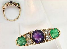 Interest in suffragette jewellery has increased recently and prices have risen quickly. This rare Suffragette Ring features Green Emeralds, White Diamonds and a Violet Amethyst in Gold. Gothic Jewelry, Modern Jewelry, Gold Jewelry, Antique Rings, Antique Jewelry, Vintage Jewelry, Suffragette Jewellery, Gold Price Chart, Sell Gold