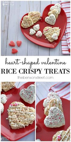 A fun and simple holiday twist on an old classic! Easy Valentine Rice Crispy Treats at thebensonstreet.com #valentinesday #ricecrispytreats #vday #valentine #hearts #heartshaped
