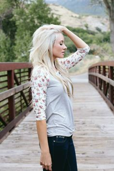 Add a versatile touch of boutique charm to your wardrobe with this Gray and  Floral Raglan 188bc92c2