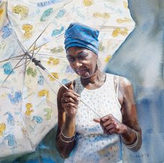 Sun Umbrella by Mary Whyte, watercolor painting. African American Artist, American Artists, African Art, Watercolor Artists, Watercolor Portraits, Watercolor Paintings, Watercolors, Painting People, Figure Painting