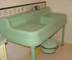 Vintage jadeite green farmhouse sink. Please visit my Facebook page at: www.facebook.com/jolly.ollie.77