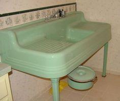 Vintage jadeite green farmhouse sink. Love!