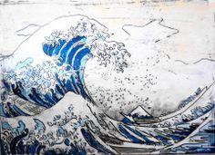 Hokusai, affresco su legno