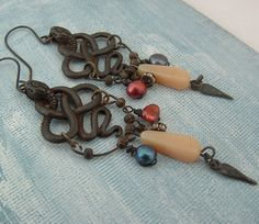The Guardian Earrings Oxidised pewter snakes, vintage glass drops, glass pearls