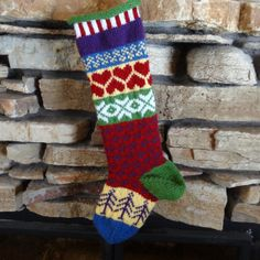 Hand Knit Christmas Stocking with Red Hearts, Purple Tree, White Snowflakes and Green Heel can be Personalized