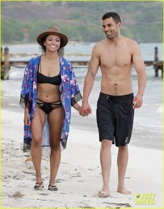 kat graham cottrell guidrv sands beach bikini 04 Kat Graham holds hands with her shirtless fiance Cottrell Guidry during a walk along the beach at Sandals Whitehouse European Village & Spa on Thursday afternoon…