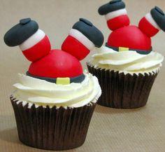 Cupcakes navideños de Papa Noel