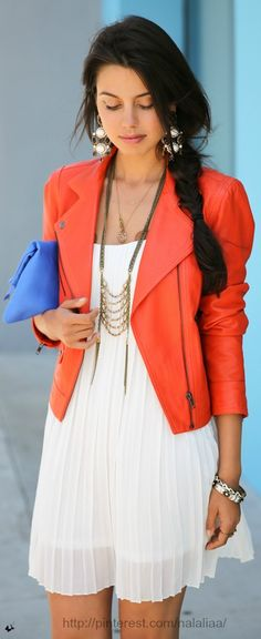 Colorful leather jacket- Shop our vintage red leather jacket at RiceAndBeansVintage.com and get the look! http://www.riceandbeansvintage.com/collections/vintage-designer-new-arrivals/products/vintage-80s-red-leather-motorcycle-jacket