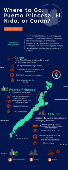 Where you need to go in Palawan, Philippines: Puerto Princesa, El Nido, or Coron? Infographics on what to see, what to do, where to stay, and what to eat. To learn more: http://fatgirlsdayout.com/palawan-travel-guide/
