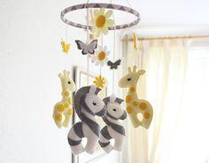 Nursery Mobile  Baby  Giraffe & Zebra Mobile  MADE by FlossyTots