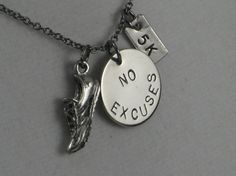 RUN 5k NO EXCUSES Necklace  Running Necklace on 18 by TheRunHome, $21.00
