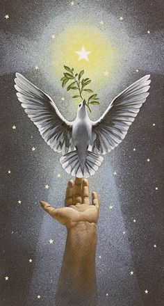 """Ascending Dove.""  by Charlotte Joan Sternberg - Christmas Art.❤️"