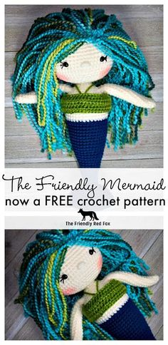 Now a FREE pattern!! The Friendly Mermaid Crochet Doll - The Friendly Red Fox