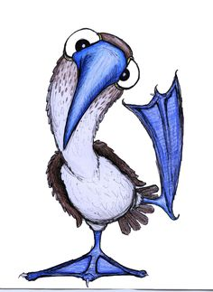 The Blue Footed Booby by Sketch-Iz on DeviantArt Cute Animal Drawings, Bird Drawings, Cute Drawings, Booby Bird, Blue Footed Booby, Character Design Animation, Arte Popular, Bird Illustration, Cute Characters