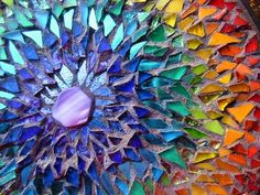 Beautiful Rainbow Mosaic Mandala by Margaret Almon - glass on wood, mother of pearl center Mosaic Garden Art, Mosaic Art, Mosaic Glass, Mosaic Tiles, Stained Glass, Glass Art, Pebble Mosaic, Mosaic Walkway, Mosaic Stepping Stones