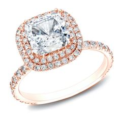 Auriya 14k Rose Gold 1 3/4ct TDW Certified Cushion Diamond Double-Halo Engagement Ring (H-I, SI1-SI2)