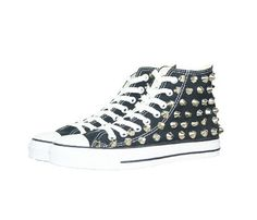 Silver Flat Top Studded Converse  by Minimal Chic @Selin Abiad